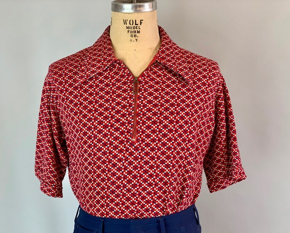1950s Atomic Tommy Polo Shirt | Vintage 50s Red White and Blue Checker Knit Cotton Pullover with Unique Zipper Pull | Large Extra Large XL