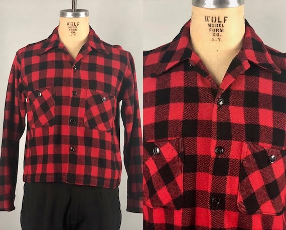 1930s 1940s Mens Plaid Shirt-Jac | Vintage 30s 40s Wool Red & Black Lumberjack Camp Pendelton Style Outdoors Jacket ShirtJac | Medium/Large