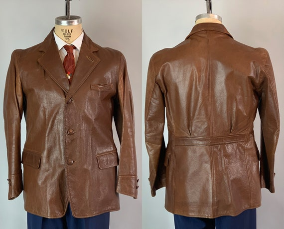 1930s Sophisticated Leather Jacket | Vintage Mens 30s Chestnut Brown Blazer w/Belted Back, Plaid Lining, and Pockets! | Small/Medium Size 37