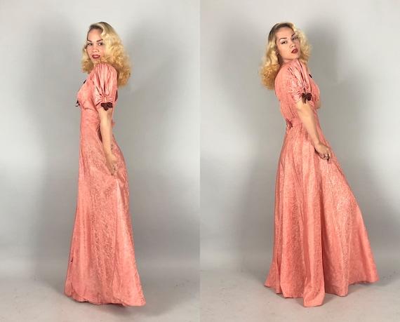 1930s Moiré Silk Gown   Vintage 30s Salmon Pink T… - image 6