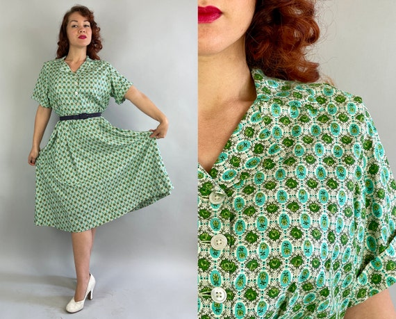 1940s Florals in Frame Dress | Vintage 40s Green and White Textured Cotton Shirtwaist Frock with Picture Framed Flowers | Extra Large XL