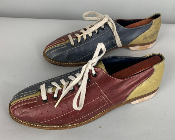 1960s Two-Tone Bowling Shoes | Vintage 60s Men's Color Block Burgundy Red and Navy Blue Leather Sports Lace-Ups by 'Cosmic' | Size 10.5