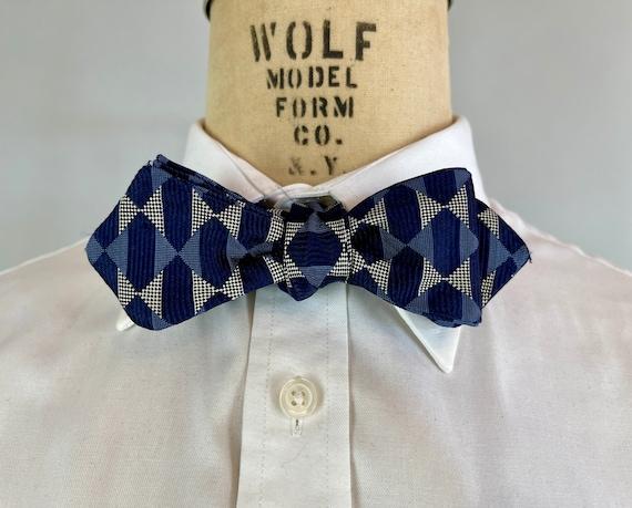 1930s Style Blue Brocade Bowtie | Navy & Denim w/ White Dots Diamond Pattern Silk Jacquard Adjustable Size Batwing Diamond Tip Self Bow Tie