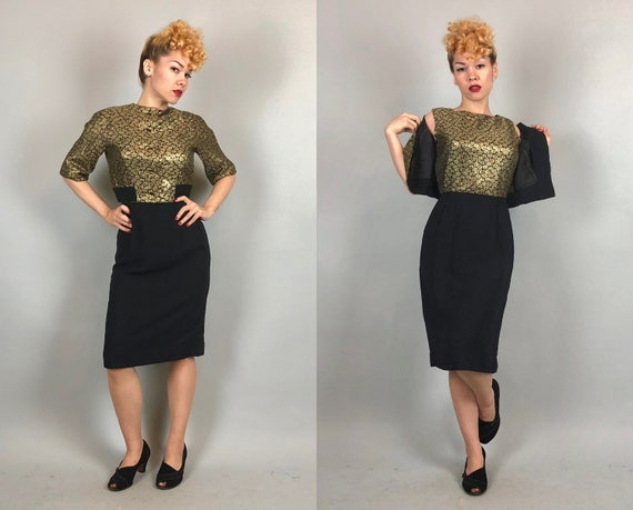 Vintage 1950s Dress Set  | 50s Black and Gold Lamé Roses Mid Century Cocktail Evening Dress & Bolero Jacket Two Piece Rayon Crepe Set |Small