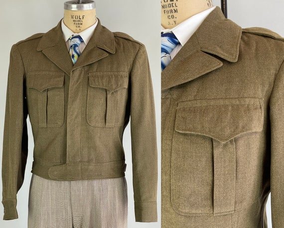 1940s Ike's Jaunty Jacket | Vintage 40s Green Wool Eisenhower Enlisted Army Short Jacket with Box Pleated Pockets | Size 38 Medium