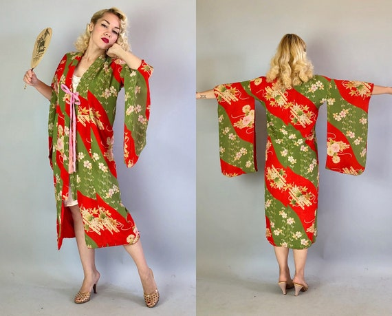 1930s Cherry Blossom Kimono   Vintage 30s Persimmon Red and Sage Green Patterned Rayon Crepe Kimono Robe with Silk and Cotton Lining   Small