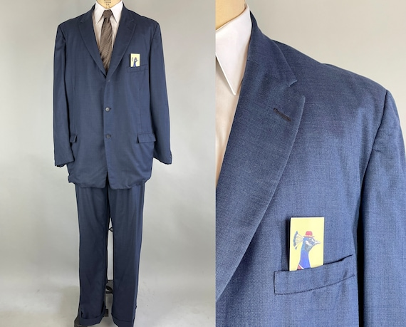 1950s Starry Night Suit | Vintage 50s Midnight Blue Wool Two-Piece Blazer Jacket and Trousers Pants | Size 46 Extra Large XL Big & Tall