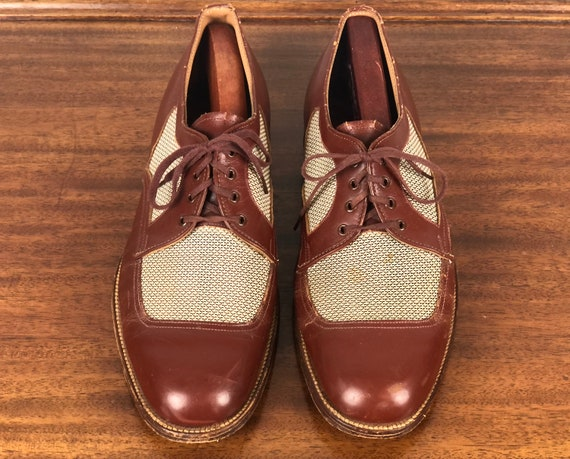 Vintage 1940s Men's Shoes | 40s Mahogany Brown Leather and White w/Brown Nylon Ventilated Summer Apron Toe Lace Up Oxfords | Size 10