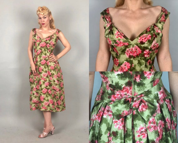 1950s Impressionist Floral Dress | Vintage 50s Raw Silk Green and Pink Spring Curvy Garden Party Day or Cocktail Dress with Bow Back | Small