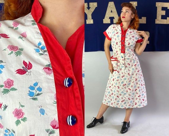 1930s Garden Delights Frock | Vintage 30s White Cotton with Red Trim and Flowers Butterflies Ladybugs Print Shirtwaist Day Dress | Medium
