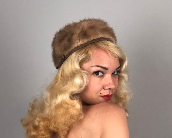 Vintage 1950s Hat | 50s Mid Century Mink Fur Pillbox Cap with Ruched Taupe Brown Nylon Crown and Band with Petite Bow
