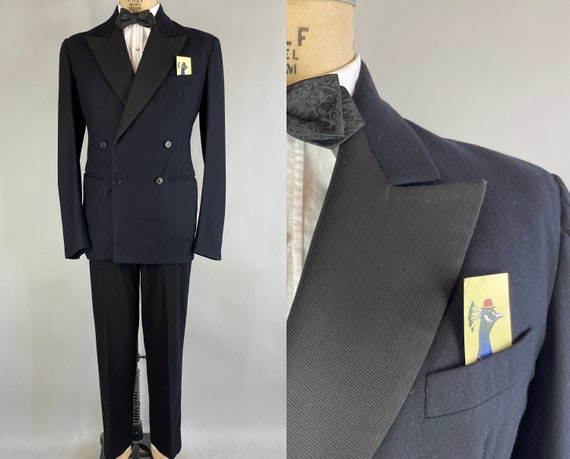 1930s After The Faille Tuxedo Dated 1938! | Vintage 30s Beautiful Black Wool Double Breasted Silk Peak Lapel Tux Suit | Size 43/40 Medium