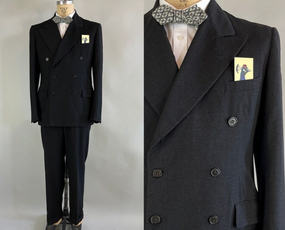 1940s Man About Town Suit | Vintage Early 40s Dark Charcoal Grey Black Wool Double Breasted Peak Lapels Jacket & Trousers |Size 38-40 Medium