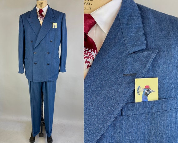 1940s Dashing Darren Suit | Vintage 40s Denim Blue Wool with White and Blue Stripes Peak Lapel Jacket & Trousers | Size 44/46 Extra Large XL