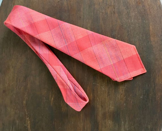 Vintage 1950s Mid Century Necktie   50s Salmon Pink Plaid Tie by 'Wembly' with Blue, Black, White and Yellow Accents
