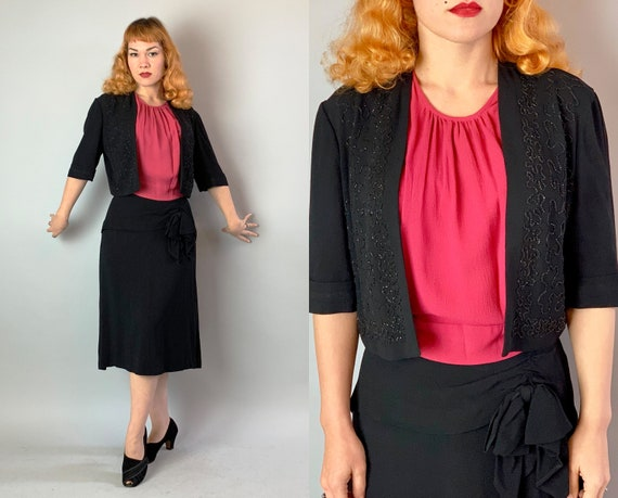 1940s Cocktail Cutie Dress Set | Vintage 40s Two Piece Black and Hot Pink Rayon Crepe Blouse Top and Skirt with Beading Hip Sash Bow | Large