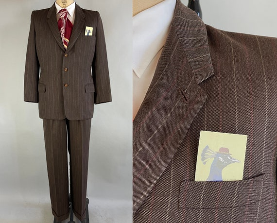 1930s Gerald's Good Suit | Vintage 30s Walnut Brown Wool with White and Rose Red Chalk Stripes Two Piece Jacket & Trousers | Size 38 Medium