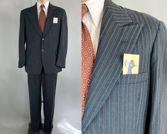 1930s Zeal for Teal Suit | Vintage 30s Single Breasted Peak Lapel Deep Blue Green Wool Trousers & Jacket w/ White Stripes |Size 38-40 Medium
