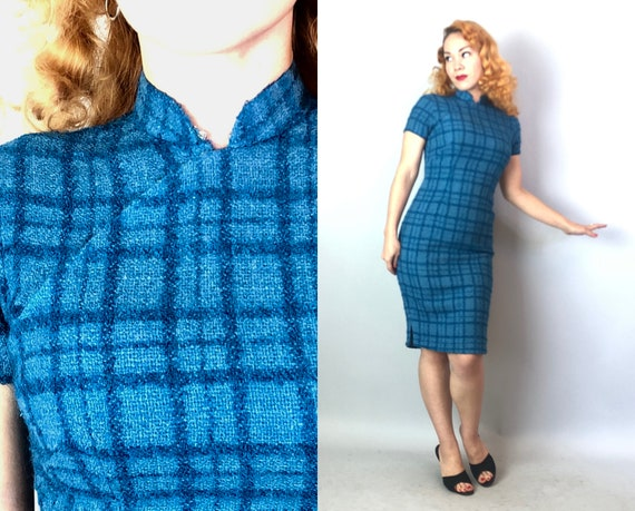 1950s Bombshell Wool Cheongsam | Vintage 50s Teal Blue Windowpane Short Sleeve Nubby Knit Qipao Day Dress by 'Lai Wah HK' | XS Extra Small