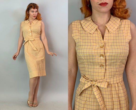 1950s Sunny Samantha Day Dress | Vintage 50s Yellow and White Windowpane Plaid Cotton Frock with Puritan Collar and Sash Tie Belt | Small