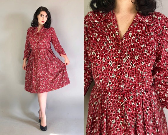 """Vintage 1950s Dress   50s Mid Century Red Black and White """"Seas-n-rite"""" Rayon Jersey Day Dress with Allover Motif Print & Pockets!   Medium"""