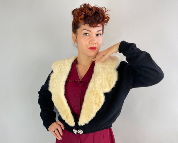 1950s Festive and Furry Cardigan   Vintage 50s Black Cashmere Sweater w/White Rabbit Scallop Collar and Rhinestone Clasp   Extra Large XL