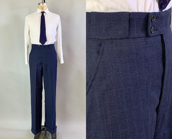 1920s Windowpane Plaid Trousers | Vintage 20s Navy Blue & Red Flecked Cuffed Pants Slacks w/Tunnel Loops Patent Dated 1926! | 33x32 Medium
