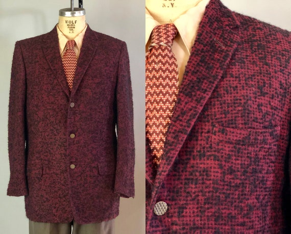 1950s Mens Nubby Tiki Blazer | Vintage 50s Red and Black Wool Sport Coat Jacket w/Textured Brass Buttons Styled in Hollywood | Size 44 Large