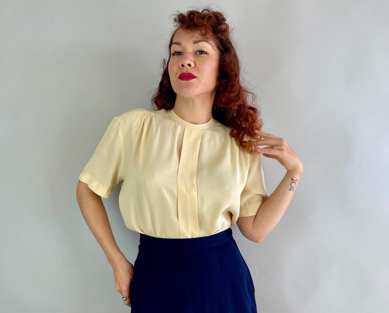 1940s Basic and Beautiful Blouse  Vintage 40s Butter Yellow image 0