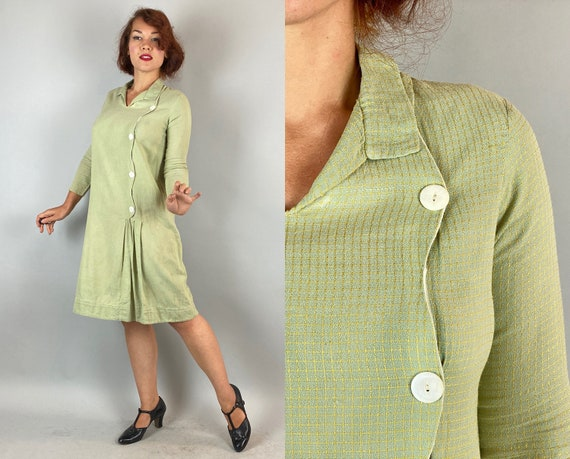 1920s Chessie's Checker Dress | Vintage 20s Mint Green Gold Windowpane Plaid Wool Dropped Waist Frock with Asymmetric Buttons | Small Medium