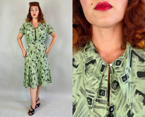 1940s Merry Mint Frock   Vintage 40s Green Rayon Shirtwaist Dress with Ink and Charcoal Style Square Print and Faceted Buttons   Medium