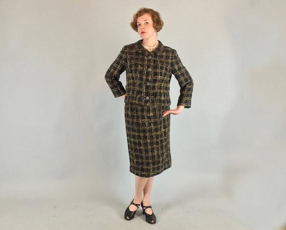 Vintage 1950s 1960s Suit | 50s 60s Yellow Black and Grey Triple Windowpane Slubby Wool Skirt and Jacket Set | Medium Large