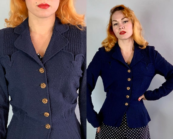 1940s Golden Rose Blazer | Vintage 40s Navy Blue Nubby Wool Jacket with Arrow Tabbed Boyfriend Pockets & Gold Flower Buttons | Medium