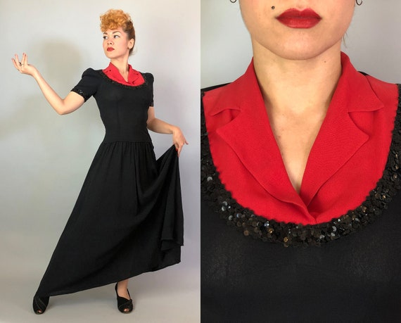 1940s Color Block Cutie Gown | Vintage 40s Two To… - image 1