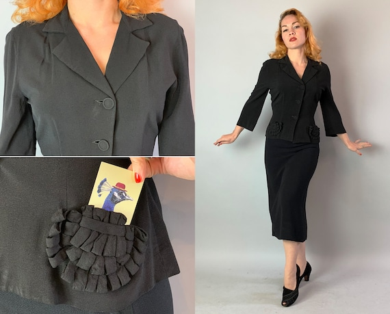 1940s Noir Dame Suit | Vintage 40s Inky Black Rayon Bell Sleeve Jacket with 3D Ribbon Lipstick Pockets and Matching Pencil Skirt | Large