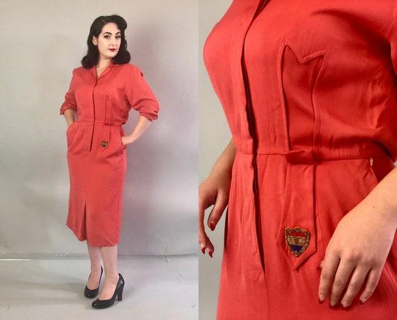 1940s Pink Gabardine Dress   Vintage 40s Coral Wool Knee-Length Shirtwaist Day Dress with Arrow Cutout Tab & Golden Crest Appliqué   Medium