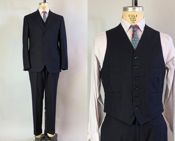 1950s Sophisticated Sammy Three Piece Suit | Vintage 50s Black Wool Jacket Blazer Vest Waistcoat and Trousers Pants | Size 40 Medium