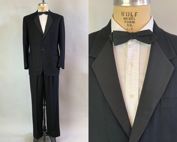 1940s Golden Era Tuxedo | Vintage 40s Classic Jet Black Single Breasted Wool and Silk Faille Two Piece Tux Suit | Size 40 Medium