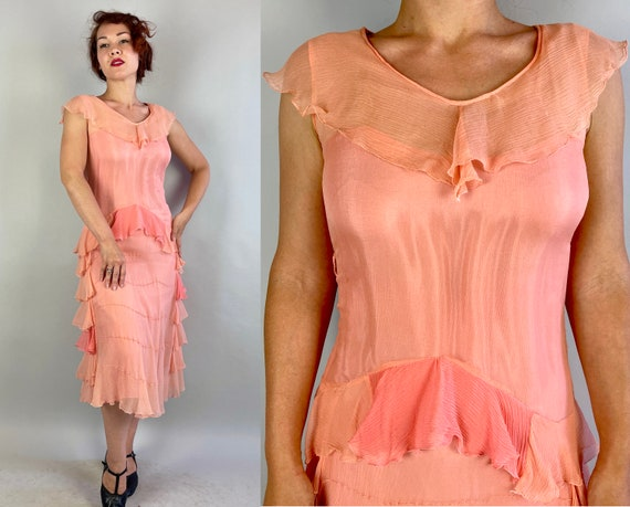 1920s Rita's Ruffled Rumba Frock | Vintage 20s Two Tone Pink Silk Crepe Chiffon Flapper Dress with Tiered Ruffles | Small Extra Small XS