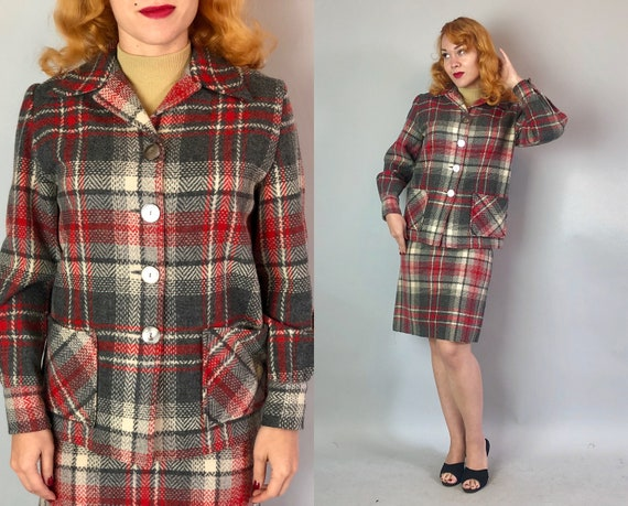 1950s Pendleton 49er Womens Suit | Vintage 50s  Jacket & Pencil Skirt in Grey and Red Plaid Tweed Wool with Shell Buttons | Extra Small XS