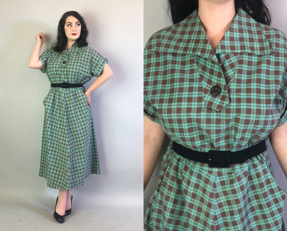1940s Plaid Day Dress | Vintage 40s Turquoise Blue & Mocha Brown Tartan Cotton Frock w/Scoop Pockets and Wing Collar Volup | Extra Large XL
