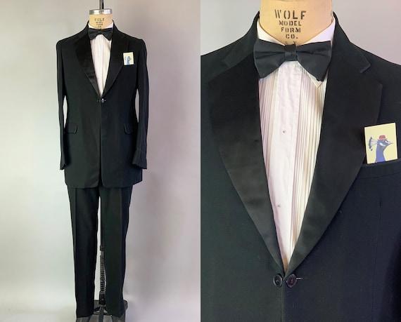 1910s Charming Charlie Tuxedo | Vintage Teens Antique Black Wool Tux Suit w/Silk Satin Lapels on Jacket and Trousers Stripe | Size 38 Medium