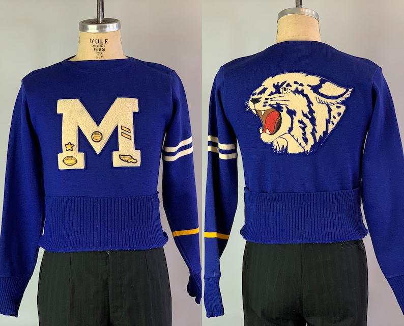 1940s Athletic Sports Sweater  Vintage 40s Royal Blue Wool image 0