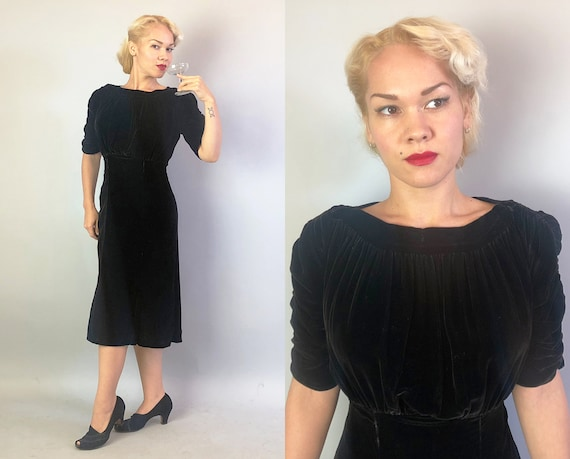 1930s Soft Silk Velvet Dress | Vintage 30s Rich Obsidian Black Evening Dress with Gathered Bust A-Line Skirt and Ruched Sleeves LBD | Small