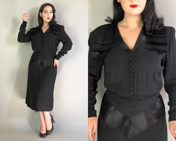 1940s 'Arthur Weiss' Dress | Vintage 40s Ink Black Rayon & Satin Cocktail Evening Dress LBD w/ Fringe Shoulder Tiers | Extra Large XL Volup