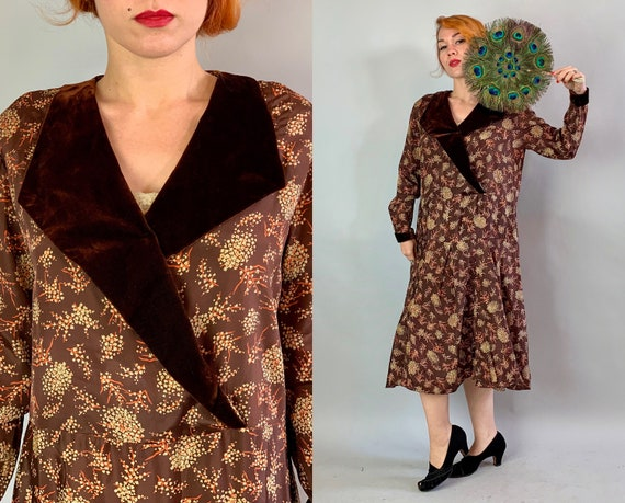 1920s Fabulous Flapper Frock | Vintage 20s Chocolate Brown Silk and Velvet Dress with Orange and Ivory Floral Print Volup | Extra Large XL