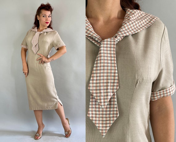 1940s Sahara Sandy Day Dress | Vintage 40s Sand Beige Linen Shift Frock with Grey Pink and White Sailor Collar | Large Extra Large XL