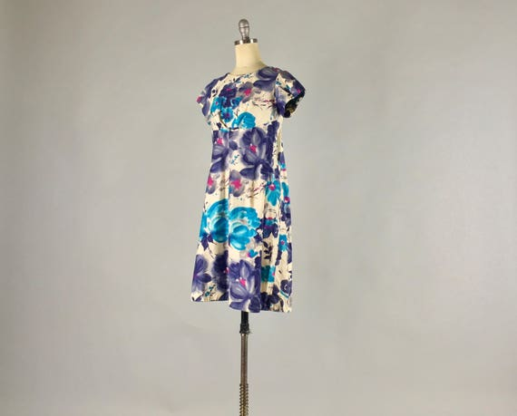 Vintage 1950s 1960s Dress | 50s 60s Polynesian Hawaiian Cotton Tiki Dress Bold Purple Blue Pink Tropical Floral Print | Small Extra Small XS