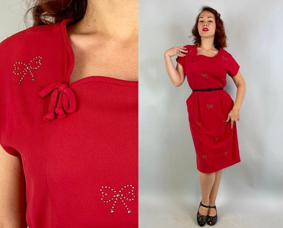 1940s Scarlet Envy Dress | Vintage 40s Lipstick Red Rayon Evening Cocktail Party Dress with Studs & Rhinestone Bows | Large Extra Large XL