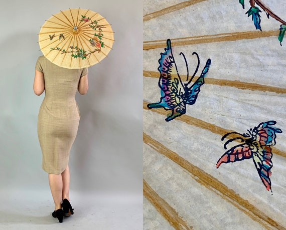 1930s Pretty Petite Parasol | Vintage 30s Mini Paper Asian Sun Umbrella with Hand Painted Roses and Butterflies and Bamboo Handle